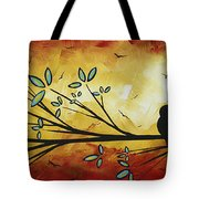 Abstract Bird Landscape Tree Blossoms Original Painting Family Of Three Tote Bag