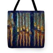 Abstract Blue And Gold Organ Pipes Tote Bag