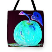 Abstract Blue And Teal Apple On Black Tote Bag
