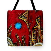 Abstract City Cityscape Art Original Painting Stand Tall By Madart Tote Bag
