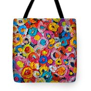 Abstract Colorful Flowers 1 - Paint Joy Series Tote Bag