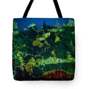 Abstract Colorful Light Projection On Trees Tote Bag