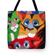 Abstract Colorful Sleepy Cats Tote Bag