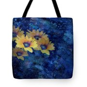 Abstract Daisies On Blue Tote Bag by Ann Powell