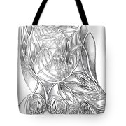 Abstract Drawing Owl Hands Roses Tote Bag
