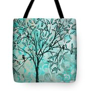 Abstract Floral Birds Landscape Painting Bird Haven II By Megan Duncanson Tote Bag