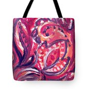 Abstract Floral Design Purple Note Tote Bag