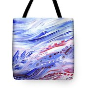 Abstract Floral Marble Waves Tote Bag