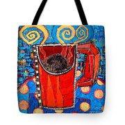 Abstract Hot Coffee In Red Mug Tote Bag