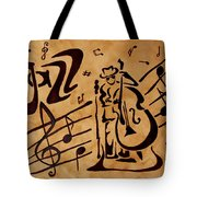 Abstract Jazz Music Coffee Painting Tote Bag