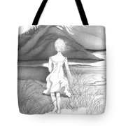 Abstract Landscape Art Black And White Dream The Jumping Off Place By Romi Tote Bag