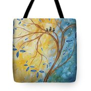 Abstract Landscape Bird Painting Original Art Blue Steel 2 By Megan Duncanson Tote Bag