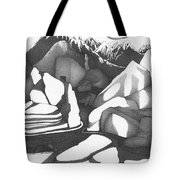 Abstract Landscape Rock Art Black And White By Romi Tote Bag
