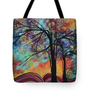 Abstract Landscape Tree Art Colorful Gold Textured Original Painting Colorful Inspiration By Madart Tote Bag