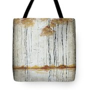 Abstract Neutral Landscape Pond Reflection Painting Mystified Dreams I By Megan Ducanson Tote Bag