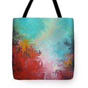 Abstract Red Blue Digital Print Tote Bag
