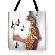 Abstract Saxophone Player Tote Bag