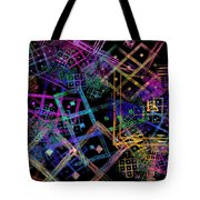 Abstract Squares Pattern Fractal Flame Tote Bag by Keith Webber Jr
