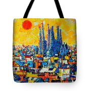 Abstract Sunset Over Sagrada Familia In Barcelona Tote Bag