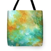 Abstract Textured Decorative Art Original Painting Gold And Teal By Madart Tote Bag