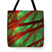 Abstract Tiled Green And Red Fractal Flame Tote Bag by Keith Webber Jr