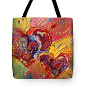 Abstract Valentines Love Hearts Tote Bag by Julia Apostolova