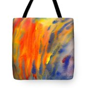 Abstract Watercolor Painting With Fire Flames Tote Bag