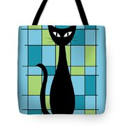 Abstract With Cat In Blue Tote Bag