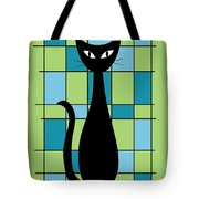 Abstract With Cat In Green Tote Bag
