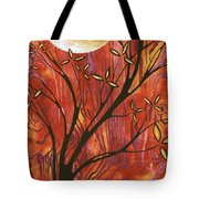 Abstract Wood Pattern Painting Original Landscape Art Moon Tree By Megan Duncanson Tote Bag
