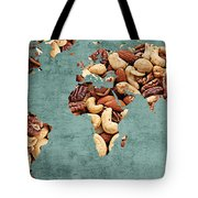 Abstract World Map - Mixed Nuts - Snack - Nut Hut Tote Bag