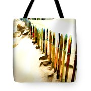 Abstracted March Of The Colored Dune Fence Tote Bag
