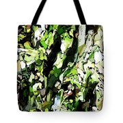 Abstraction Green And White Tote Bag