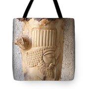 Achaemenian Soldier Relief Sculpture Wood Work Tote Bag by Persian Art