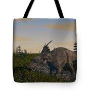 Achelousaurus Grazing In Swamp Tote Bag