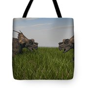 Achelousauruses Confrontation In Swamp Tote Bag