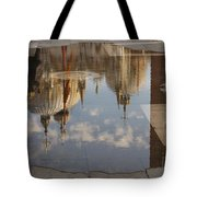 Acqua Alta Or High Water Reflects St Mark's Cathedral In Venice Tote Bag