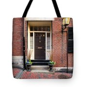 Acorn Street Door And Lamp Tote Bag