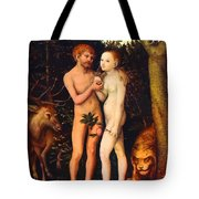 Adam And Eve - Oil On Canvas Tote Bag