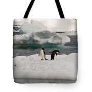 Adelie Penguins On Ice Tote Bag