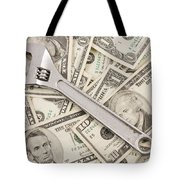 Adjustable Wrench On Pile Of Money Tote Bag