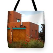 Adobe House And Poppies Tote Bag