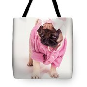 Adorable Pug Puppy In Pink Bow And Sweater Tote Bag by Edward Fielding