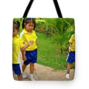 Adorable Sweethearts Welcoming Committee At Baan Konn Soong School In Sukhothai-thailand Tote Bag