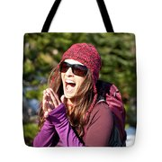 Adult Woman Laughing Out Loud While Tote Bag