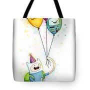 Adventure Time Finn With Birthday Balloons Jake Princess Bubblegum Bmo Tote Bag