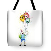 Adventure Time Finn With Birthday Balloons Jake Princess Bubblegum Bmo Tote Bag