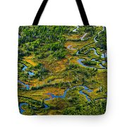 Aerial Of A Wetland, Over Northern Tote Bag