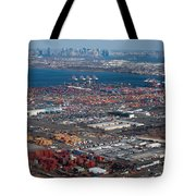 Aerial Over Newark And New Yourk Tote Bag