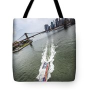 Aerial View - Red Tourist's Boat At East River Tote Bag